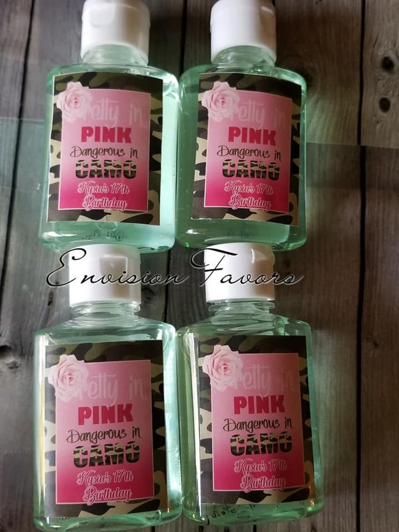 Pretty in PINK Dangerous in Camo Favors|Camo Party|Loot Bags|Candy Wrappers|Printed and Shipped|PINK|Camo|12 quantity