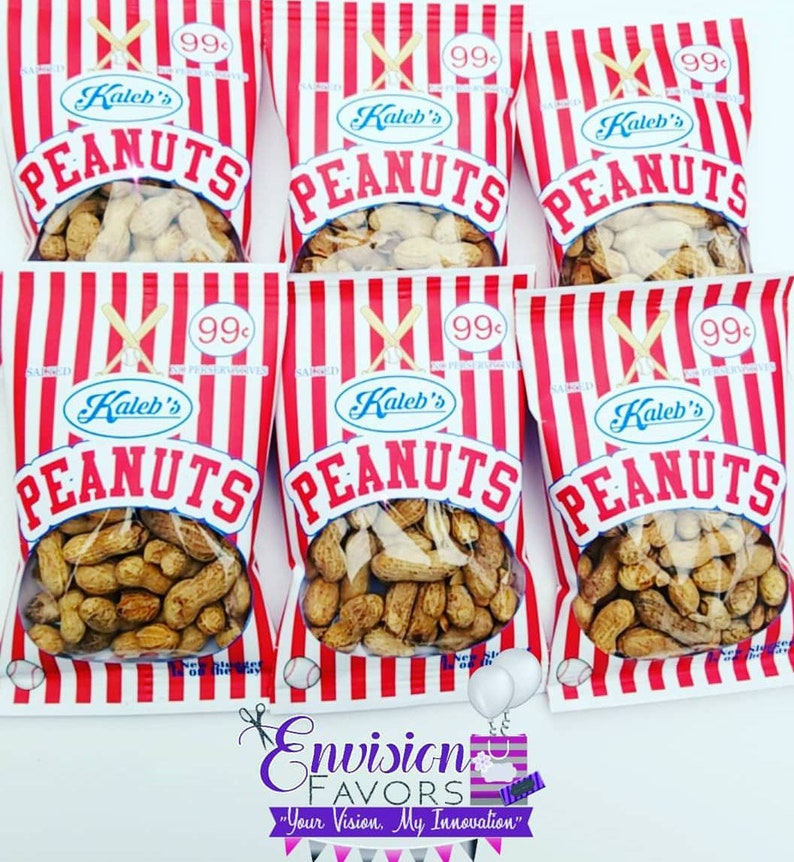Set of 12 Baseball theme Peanut Personalized Treat Bags Bags |Baby Shower| 1st birthday| Printed Custom Chip Bags Party Favors