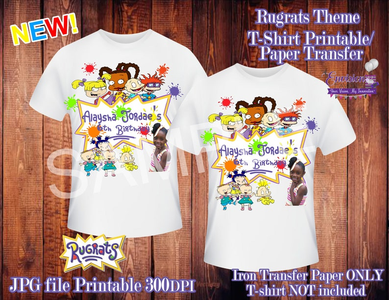 photograph relating to Printable Iron on Transfer identified as Rugrats T-blouse Printable Iron Move Report/Custom made Custom made T-Blouse Style and design/Electronic Record/Birthday Blouse/Youngster Functions/Customizable