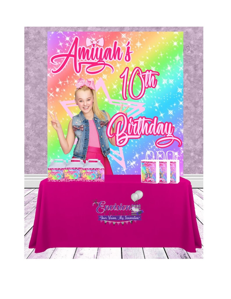 4337a3f3890aa JoJo Siwa Party Theme 5x6 Foot Table Backdrop Banner Step and