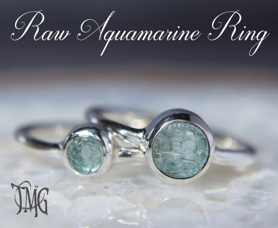 stack stone ring size 7.5 March birthstone jewelry light blue ring Aquamarine ring oxidase sterling silver rough raw aquamarine crystal
