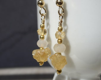 Citrine Earrings, raw citrine, Citrine Rough, November Birthstone, moonstone earrings, Gemstone Earrings, Yellow Earrings