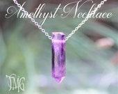 Amethyst Crystal Necklace, Amethyst Crystal Point, February Birthstone, Raw Crystal Stick Necklace, Genuine Gemstone Healing Necklace
