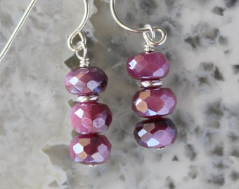 Moonstone Earrings, June Birthstone, Ruby Red Moonstone Earrings, Gold Filled, Sterling Silver, short earrings, dangling earrings