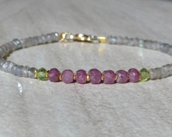 Sapphire Bracelet, Pink Sapphire Bracelet, Ruby Bracelet, Labradorite Bracelet, Dainty Bracelet, Gemstone Bracelet, Beaded Bracelet