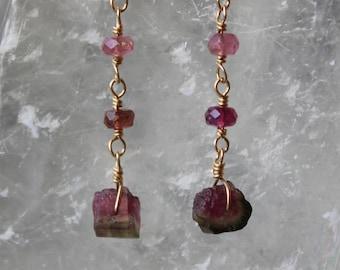 Watermelon Tourmaline Rough Earrings with multi-colored tourmaline, Tourmaline Earrings, Gemstone Dangling Earrings, October Birthstone