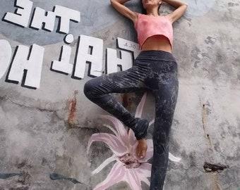 Ethically and Fair Hand made by myself! Plain mottled yoga leggings/Yoga Leggings / black leggings, black tie dye, yoga pants