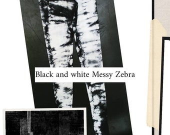The messy Zebra Leggings/ Tie Dye Yoga Leggings/Tribal Leggings/ Shibori Leggings, black, white