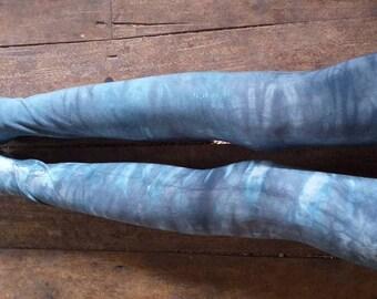 Ethically made shiva moon Leggings, Bamboo Yoga Leggings / Tie Dye leggings, yoga leggings,black, Shibori Legging