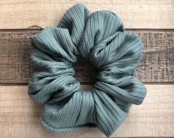 Hunter Green Ribbed Knit Hair Scrunchies, Regular Size Hair Tie