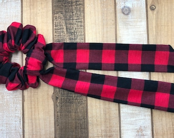 Red and Black Knit Plaid Hair Scrunchies with Long Tail Bow