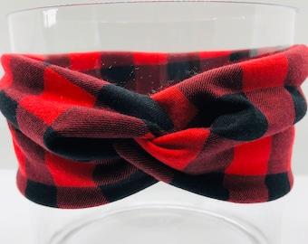 Buffalo Plaid Twisted Headband, Turban Headband, Red and Black Plaid Headband