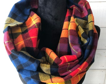 Double Wrap Infinity Cotton Flannel Scarf