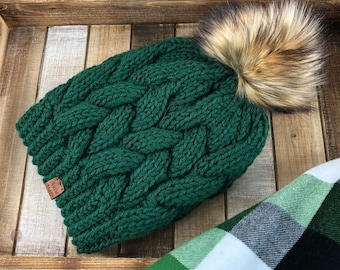 Knitted Green Cable Beanie with Detachable Faux Fur Pom, Knitted Braided Cable Hat