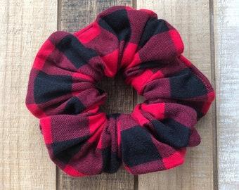 Light Weight knit Buffalo Plaid Hair Scrunchies, Regular Size Hair Tie