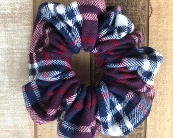 Flannel Plaid Hair Scrunchies, Regular Size Hair Tie