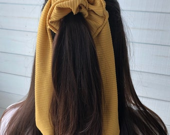 Mustard Ribbed Knit Hair Scrunchies with Long Tail Bow, Adult Size Hair Tie with Bow