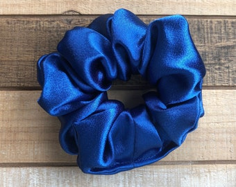 Blue Satin Hair Scrunchies, Regular Size Hair Tie