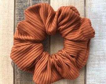 Ribbed Knit Rust Hair Scrunchies, Regular Size Hair Tie