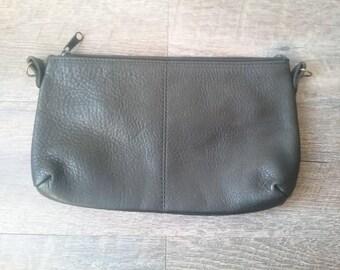 Vintage Black Leather Clutch Handbag