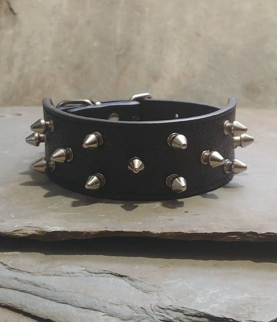 Vintage Spiked Choker Black Leather Collar Necklac
