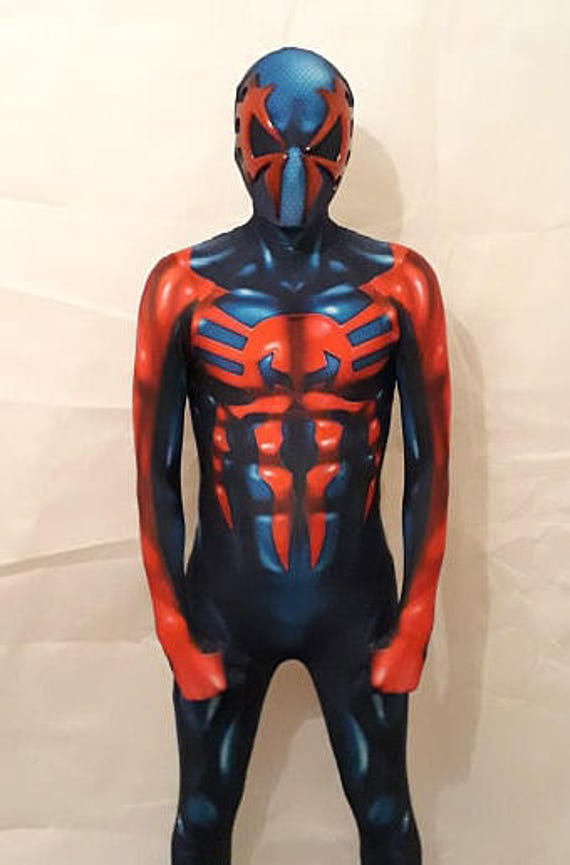 spiderman 2099 costume mens boys cosplay etsy. Black Bedroom Furniture Sets. Home Design Ideas