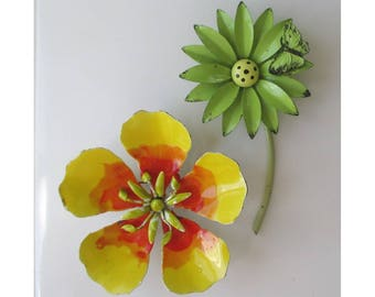 Flower Pins * Enameled Metal Flowers * Colorful Flower Brooch * Lot Of Two Classic Pins