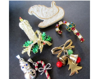 Christmas Pins / Charms * Lot Of Six Pins * Including LENOX And GERRYS