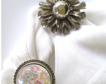 Scarf Clip * Silver Tone Flower * Iridescent Confetti * Western Germany * Lot Of Two Clips