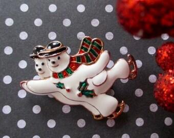 Christmas Pin * Snowman Ice Skating * Couple Ice Skating * Holiday Fun Pin