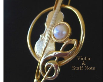 Violin Pin * Violin & Staff Note * Faux Pearls * Music Brooch