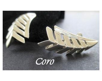 CORO Earrings * Vintage Clip Ons * Silvertone * Leaf Design