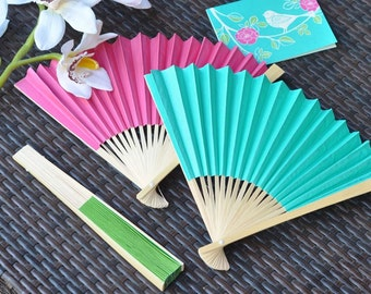 48 Non-Personalized Colored Paper Fans, Wedding Paper Hand Fans - 48 pieces