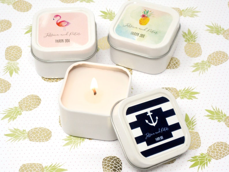 Personalized Tropical Beach Square Candle Tins  Bridesmaids image 0