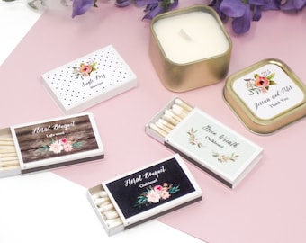 Personalized Floral Garden Match Boxes- Wedding - Bridal Shower (set of 50)