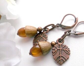Acorn  earrings copper earrings acorn oak dangle leaf dangle brown cluster brown acorn dangle autumn earrings acorn earrings nature earrings