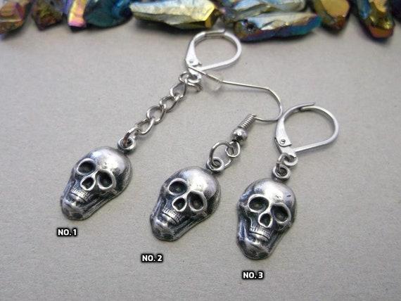 Men skull One skull dangle silver skull dangle boyfriend gift goth skull boys skull goth earring for gays goth gift for boys  men skull