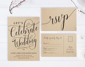 Kraft Wedding Invitation Sets Printed Let S Celebrate