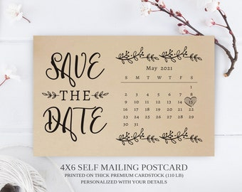 PRINTED Calendar save the date postcards   Simple elegant save the date cards printed on premium paper   4X6 wedding save the dates