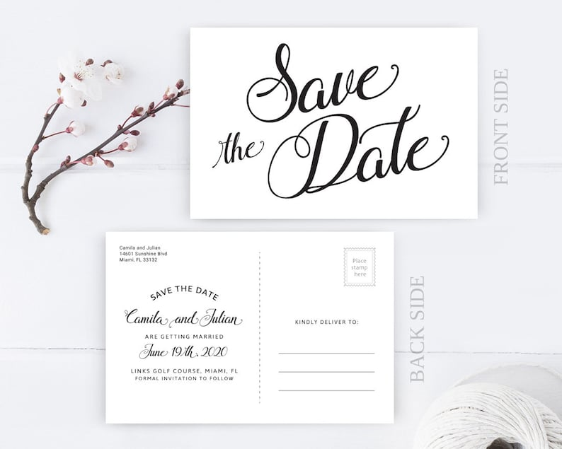 PRINTED | Wedding Save the Date Postcard | Personalized save the dates