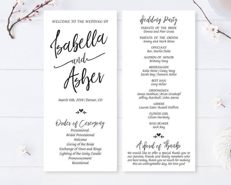 Cheap Wedding Programs.Printed Cheap Wedding Programs Printed On High Quality White Cardstock Calligraphy Program