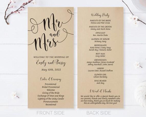 Kraft Paper Wedding Programs Simple Calligraphy