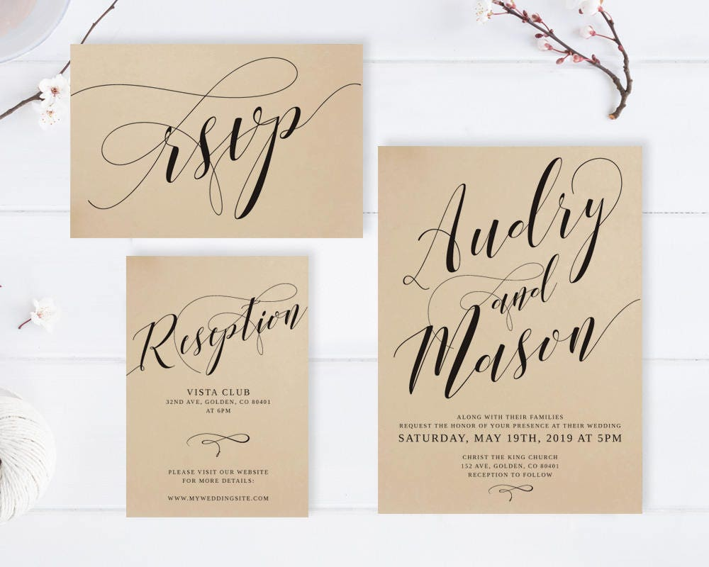 Where To Get Cheap Wedding Invitations: Cheap Rustic Wedding Invitations Printed On Kraft Paper