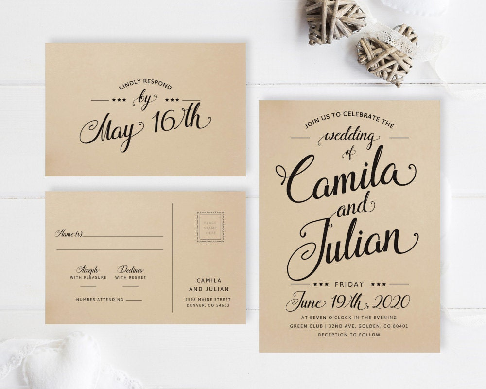 Simple wedding invitations printed on kraft paper / Modern | Etsy