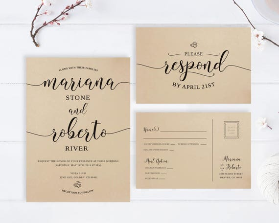 Cheap Wedding Invitations Printed On Kraft Paper Modern Typography Wedding Invitation Rsvp Postcard Simple Wedding Invites