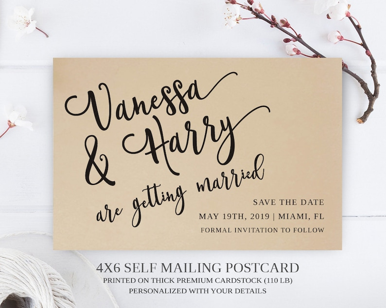 PRINTED | Calligraphy style Save the Date Postcard printed on premium paper