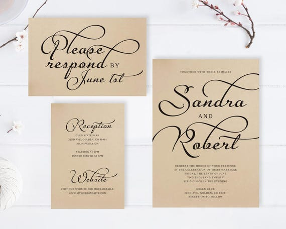 rustic wedding invitations cheap printed on premium kraft card etsy