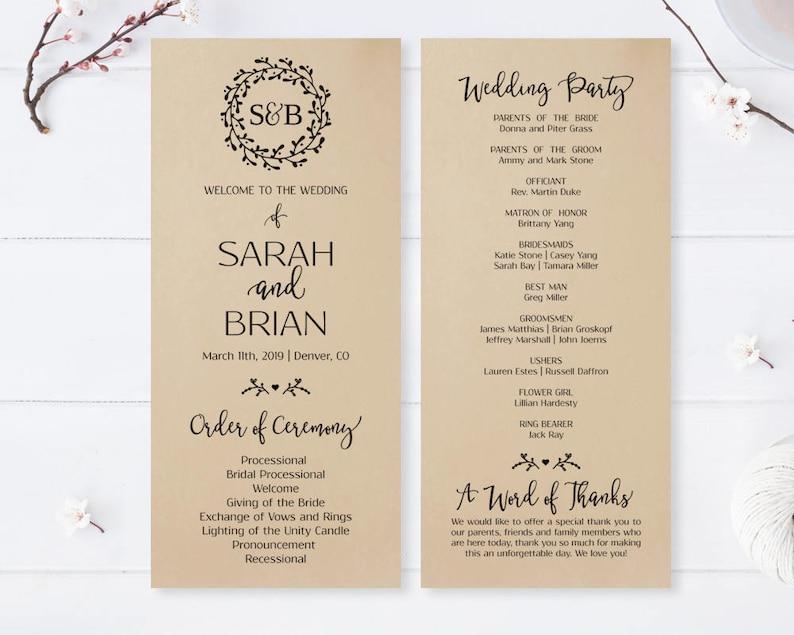 rustic wedding programs Kraft paper ceremony program PRINTED