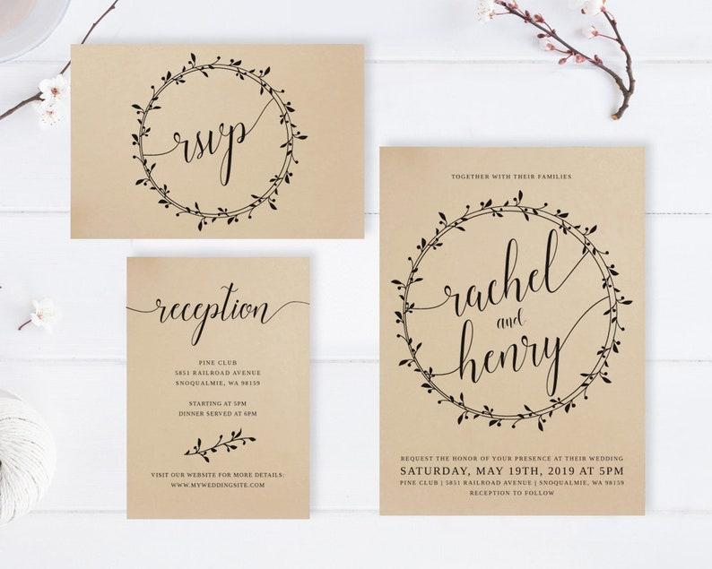 cheap wedding invitations sets brown PRINTED Simple rustic wedding invitation suite  Wreath kraft