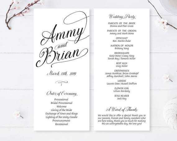 simple calligraphy wedding programs printed on thick white etsy
